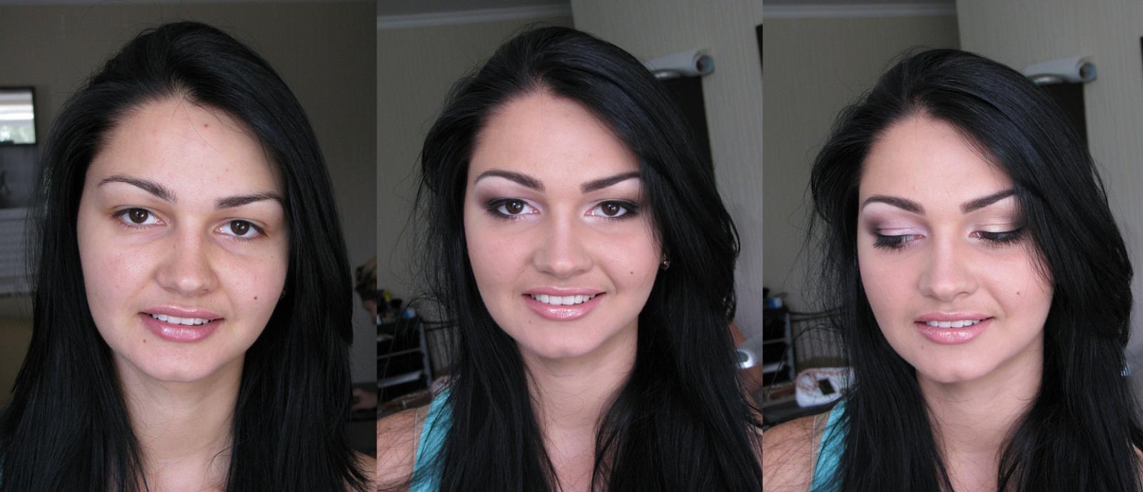 Увеличение глаз макияжем фото до и после