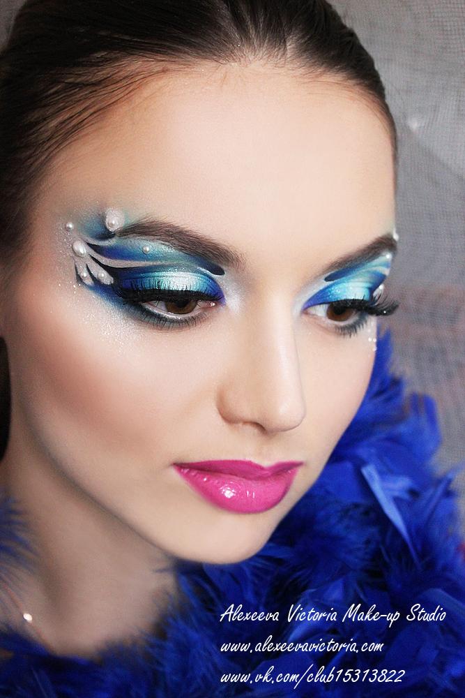 фантазийный макияж в акварельной технике